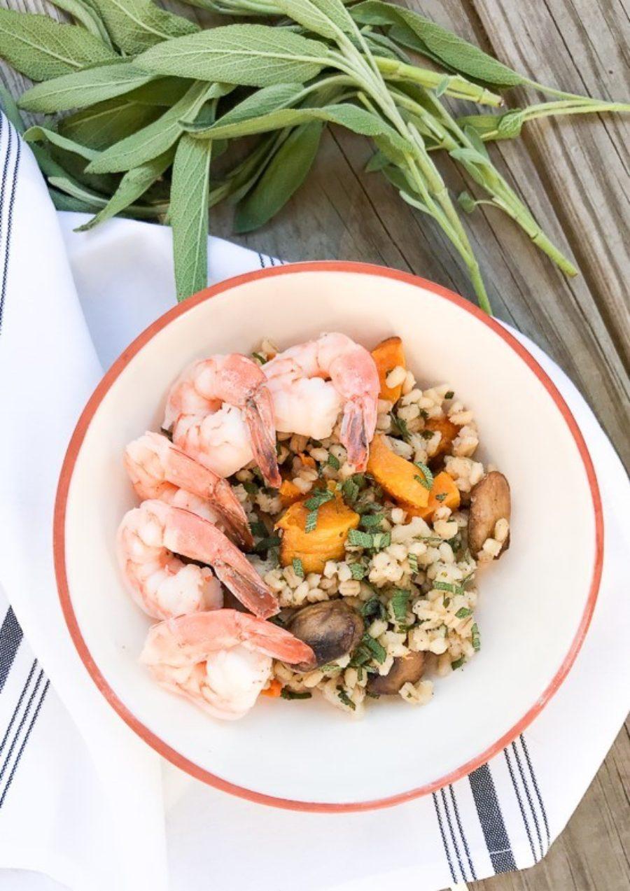 Barley Risotto Shrimp Squash Mushroom