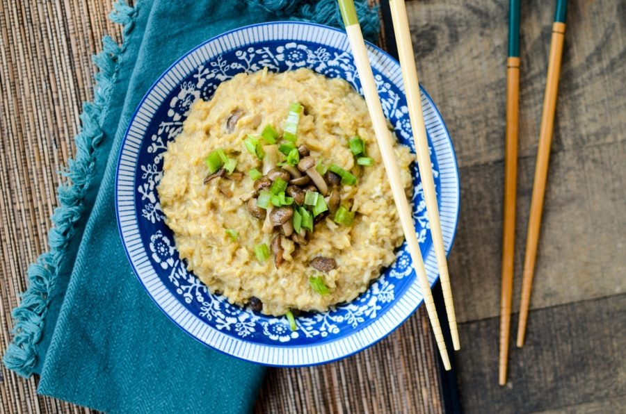 Brown Rice Congee Roasted Mushrooms 7