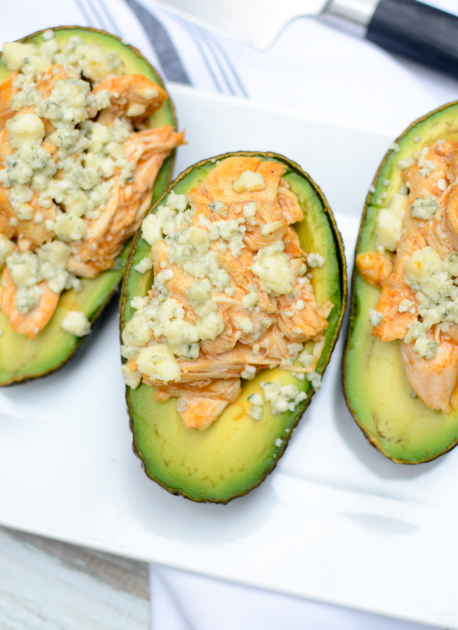 Buffalo Chicken Blue Cheese Avocados
