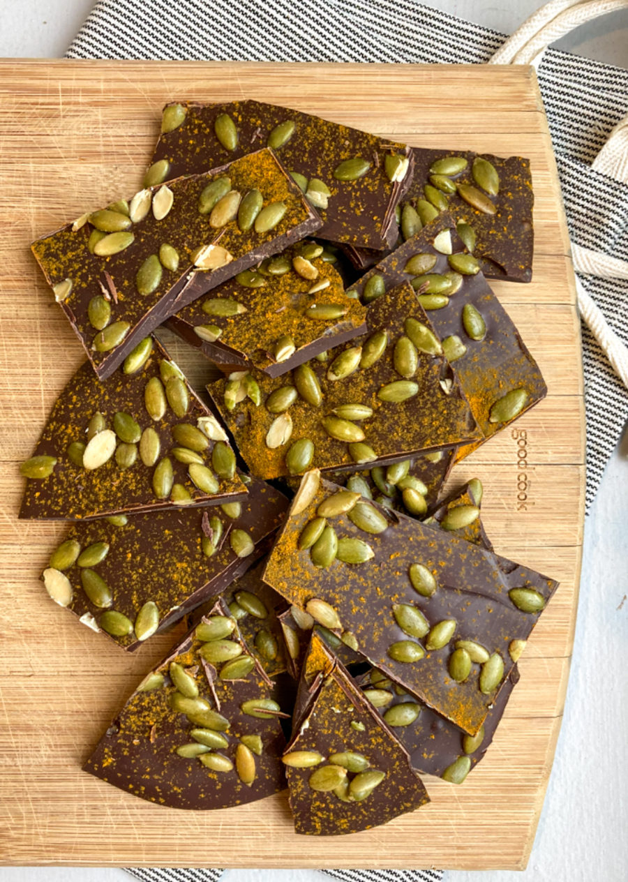 Dark Chocolate Turmeric Pepita Bark 2