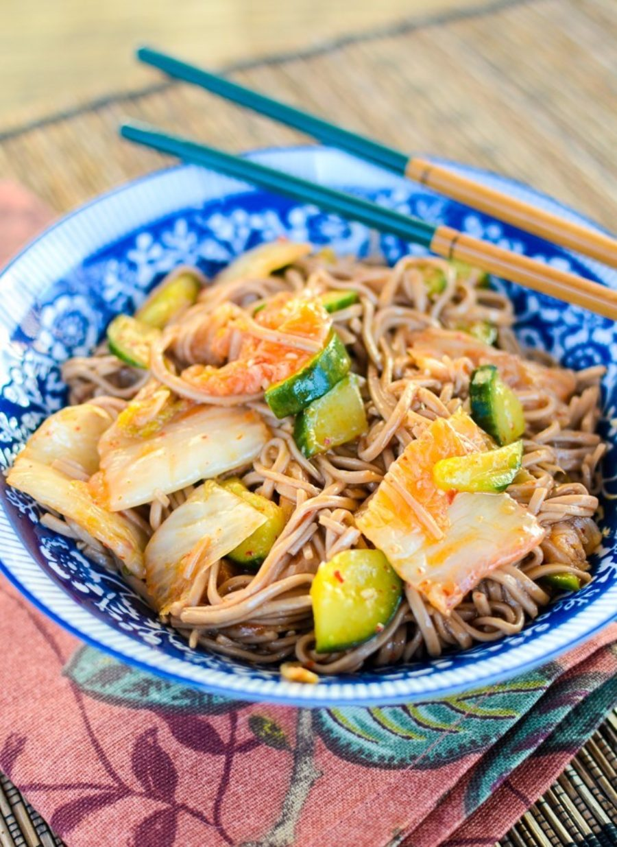 Soba Noodle Kimchi Cucumber Salad