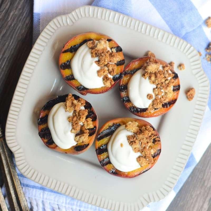 Grilled Peaches Vanilla Yogurt 2 Hres